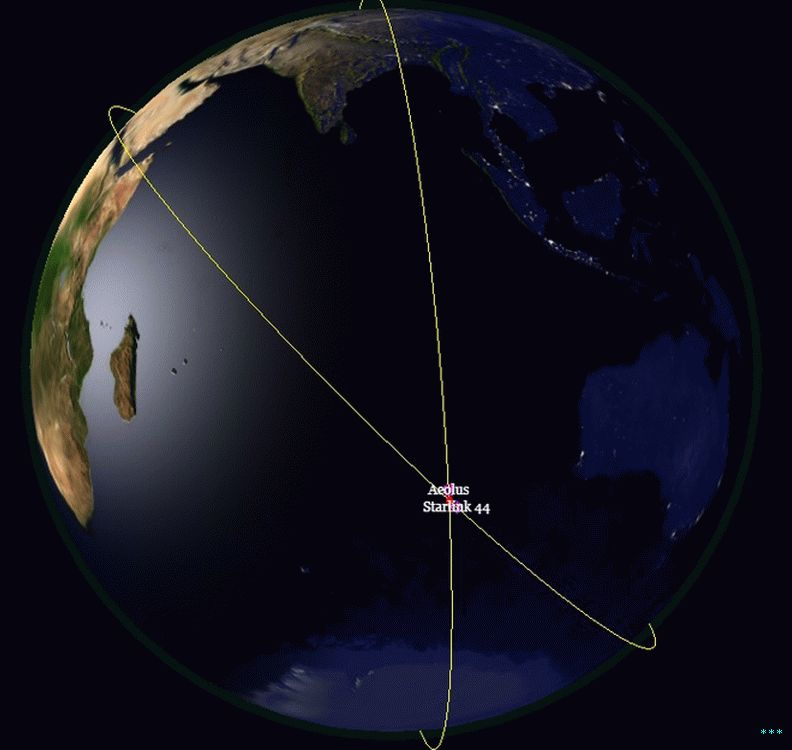 "projected ""conjunction"" between Aeolus and a SpaceX satellite."