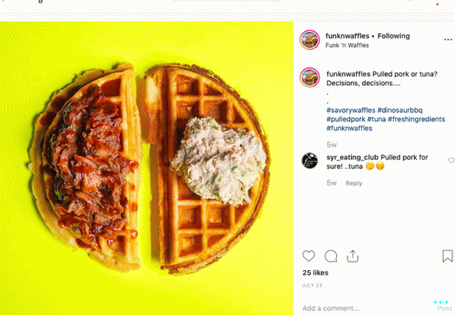Waffle inspiration can come from anywhere—in this case, Syracuse, New York.  Beloved cafe Funk n' Waffles offers your choice of savory waffles, such as pulled pork- or tuna-topped.